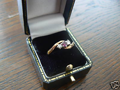 Gold 2 stone Diamond and Garnet Ring
